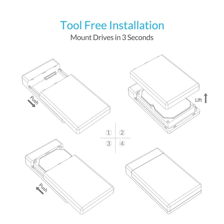"""ORICO Toolfree USB 3.0 to SATA External HDD SSD Drive Enclosure Case for 3.5"""""""